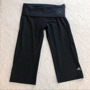 Adidas Wide Leg Fold Over Waist Capri Leggings